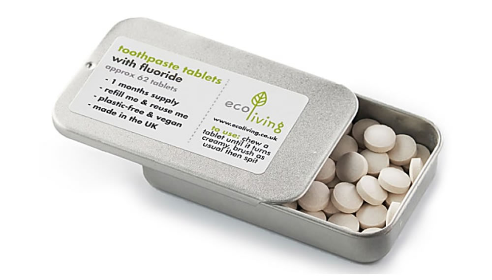 Toothpaste Tablets, 62 tablets with Refillable Tin