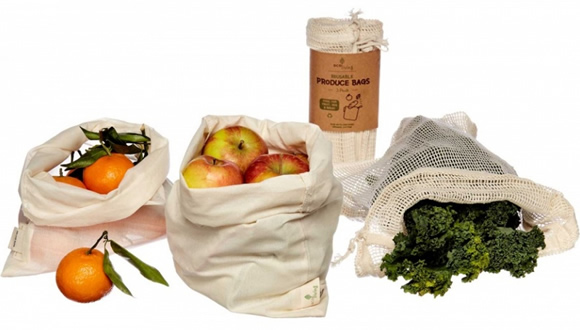 EcoLiving, Organic Produce Bags & Bread Bag - 3 Pack
