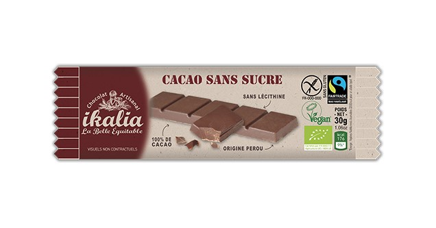 Saveurs, Dark Chocolate Bar 100% Cocoa, 30g