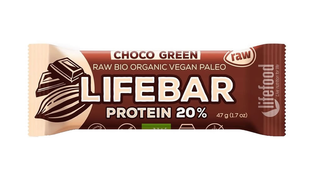 Lifebar, Choco Green Protein Bar, 47g