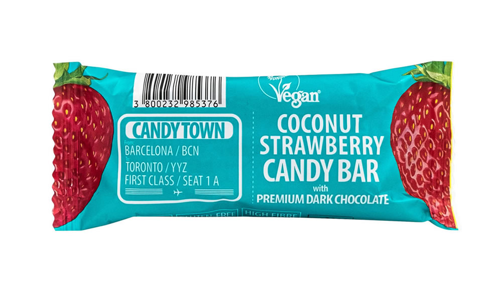 Candy Town, Coconut Strawberry Bar, 50g