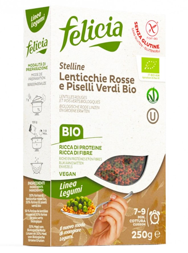 Felicia, Red Lentils and Green Peas Stars, 250g