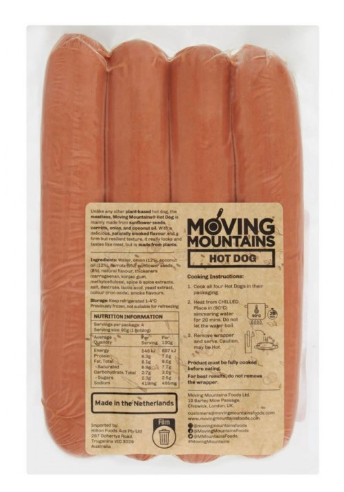 Moving Mountains, Vegan Hot Dogs, 4x90g