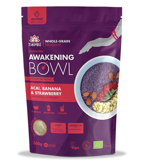 Iswari, Awaking Bowl Acai Banana & Strawberry, 360g