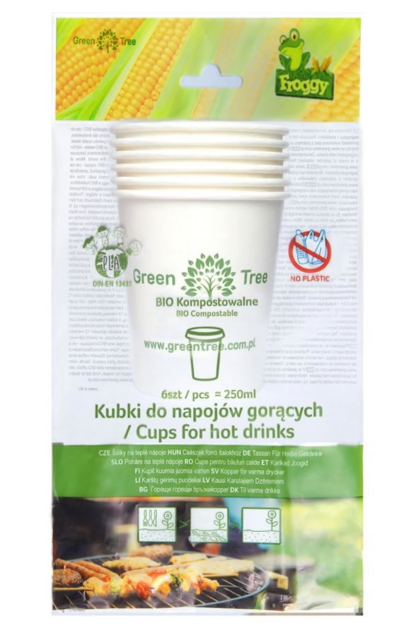 Froggy, Compostable Cups for Hot Drinks, 6pcs
