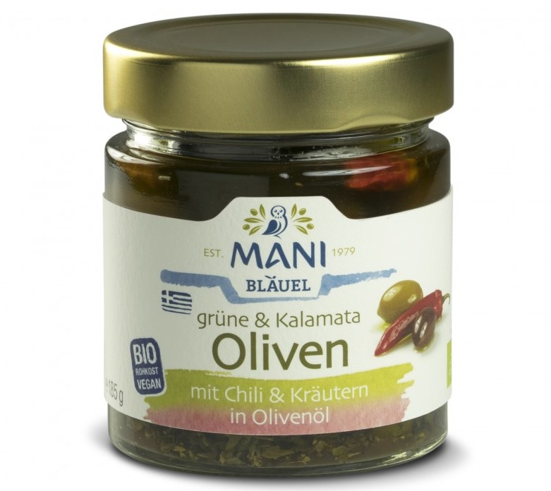 Mani, Olives with Chili and Herbs in Olive Oil, 185g