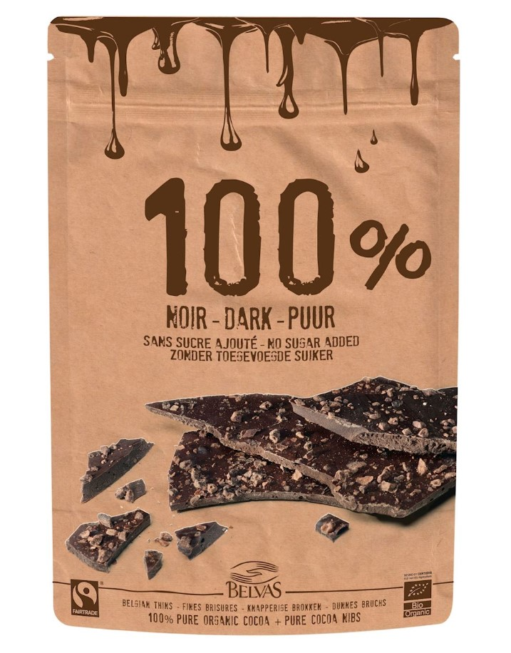 Belvas, Dark Chocolate 100% Pure Cacao Nibs, 80g