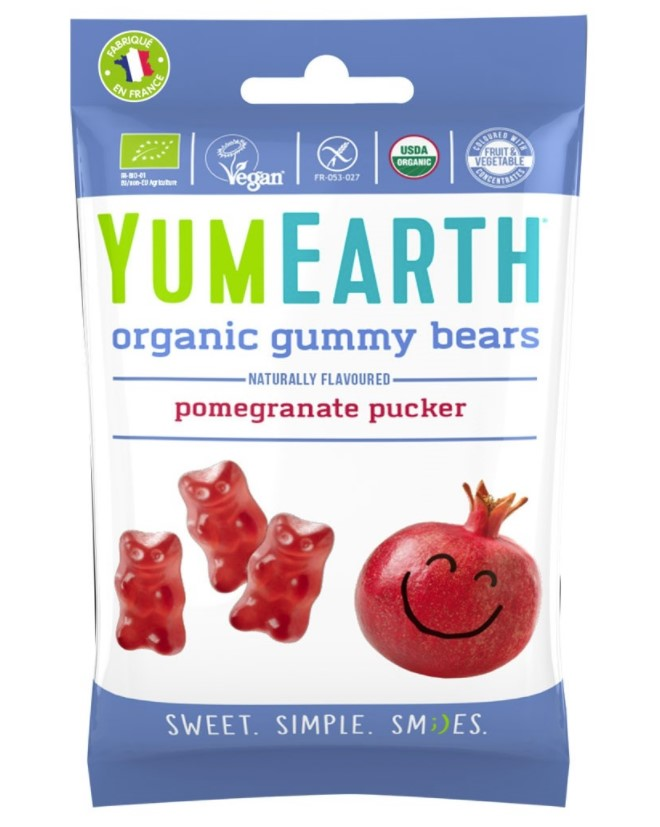 Yumearth, Gummy Bears Pomegranate Pucker, 50g