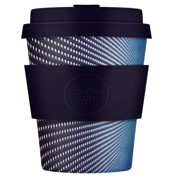 Ecoffee Cup, Reusable Bamboo Cup with Dark Blue Silicone, 250ml