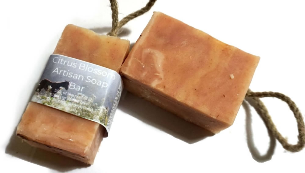 The Natural Spa, Citrus Blossom, Cold Process Soap on a rope, 100g