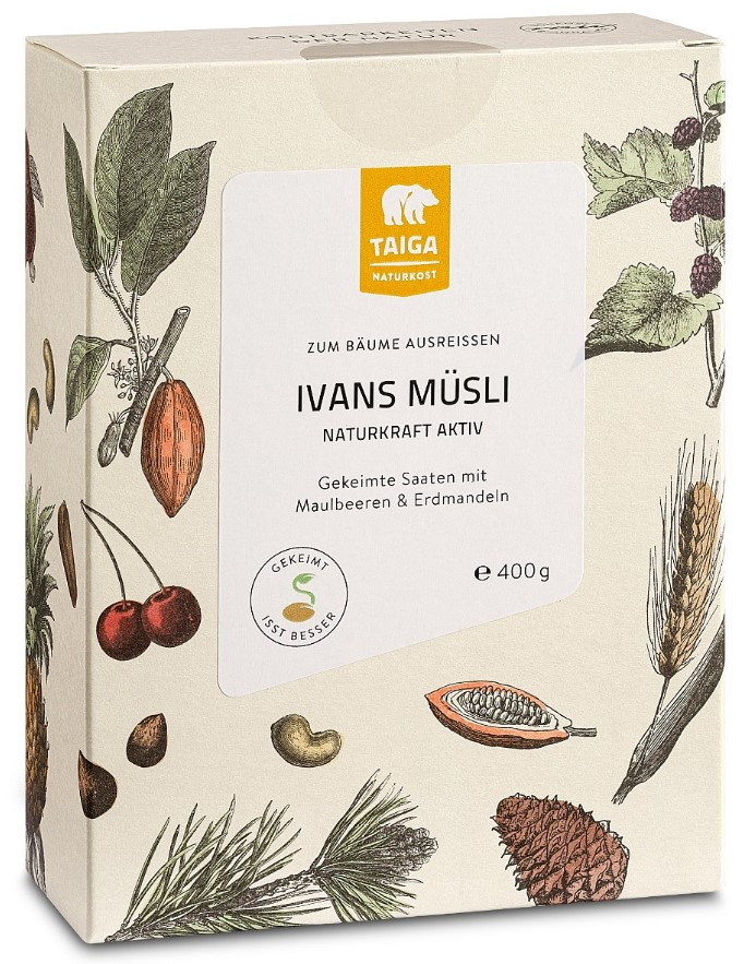 Taiga Naturkost, Muesli Sprouted Cereals Mulberries & Apricots, 400g