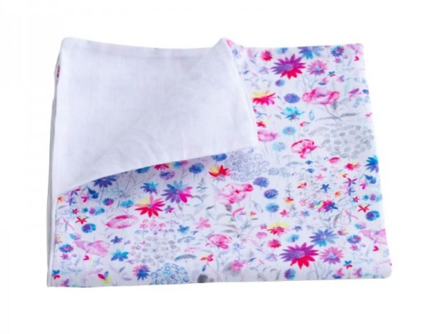 SP Eco, Organic Cotton Cloth Napkin -Double Layer, Print: Blue Flowers