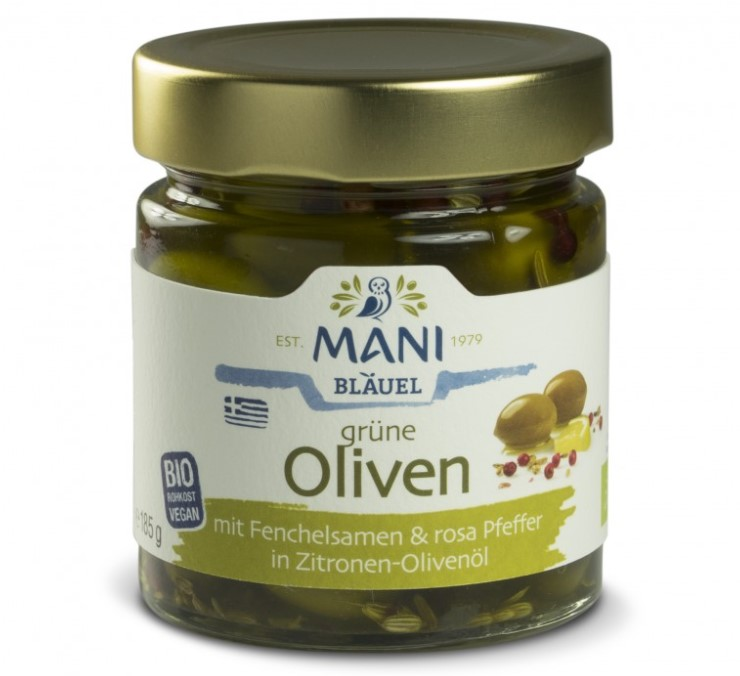Mani, Green Olives with Fennel and Pink Pepper in Lemon-olive Oil, 185g