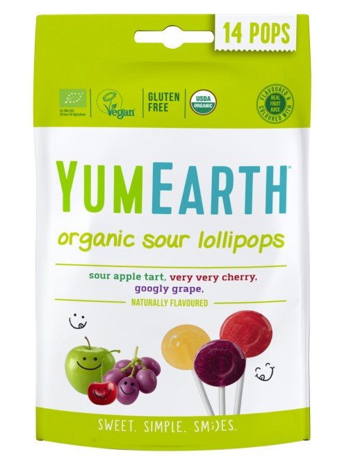 Yumearth, Sour Lollipops, 14pcs