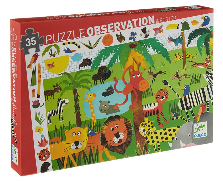 Djeco, Puzzles Observation Jungle, 3+ years