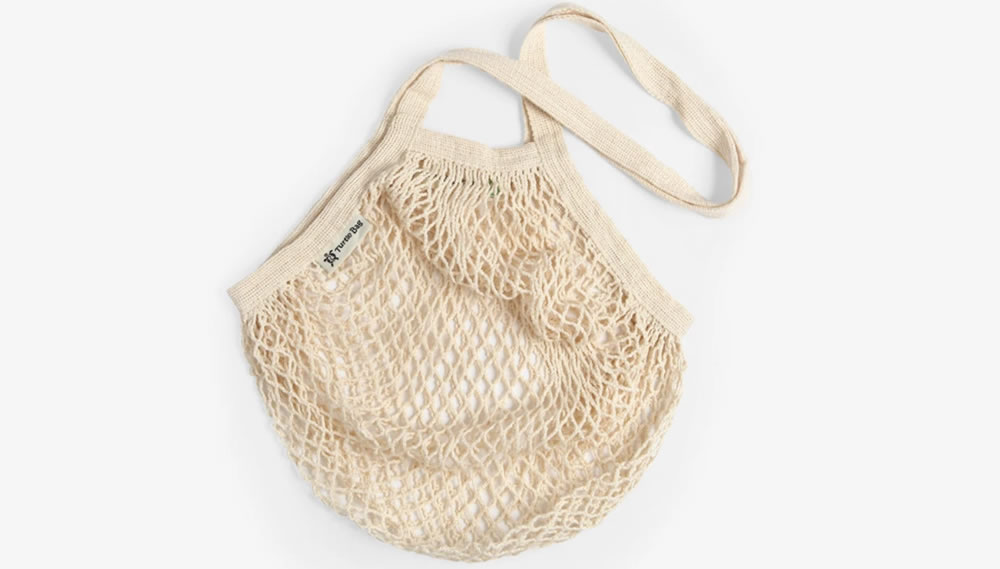 Turtle Bags, Long Handle Organic Cotton String Bag - Natural