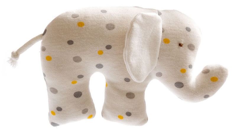 Best Years, Organic Cotton Scrappy Elephant Toy - Polkadot, 0+