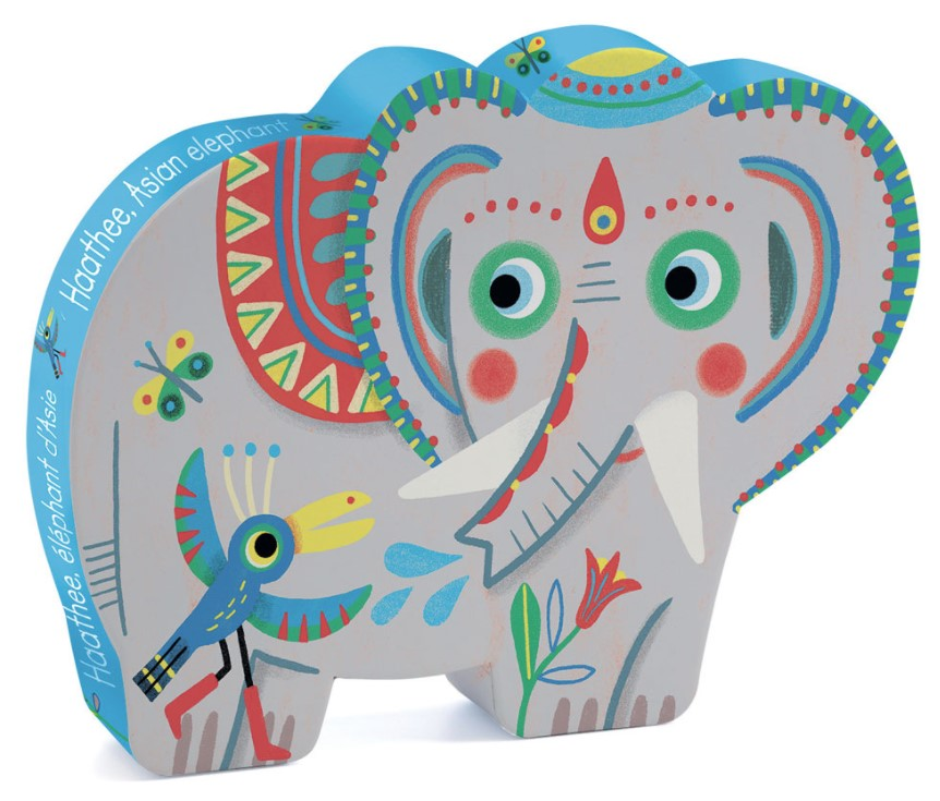 Djeco, Silhouette Puzzles Haathee Asian Elephant, 3+ years