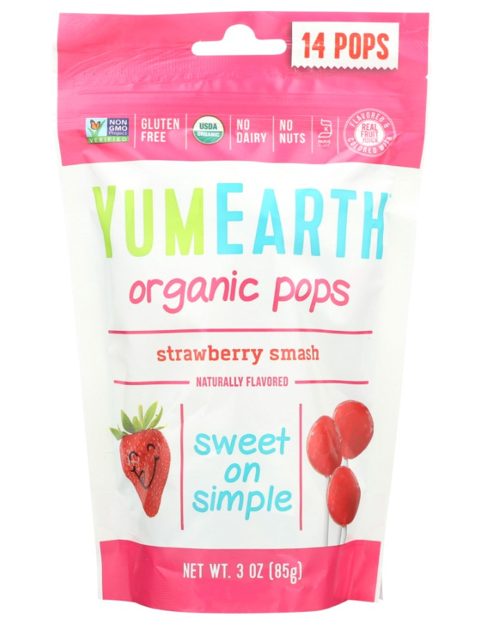 Yumearth, Lollipops Strawberry, 14pcs