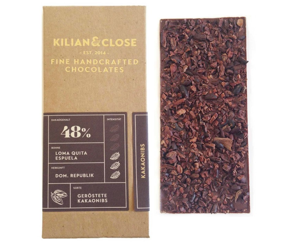 Kilian & Close, Pure Dominican with Cacao Nibs Chocolate 48%, 80g