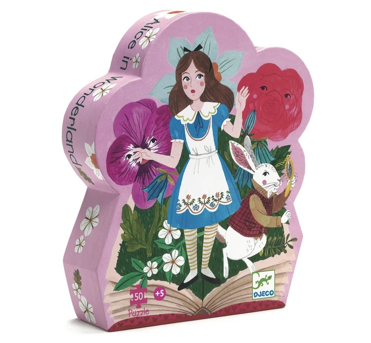 Djeco, Silhouette Puzzles Alice in Wonderland, 5+ years