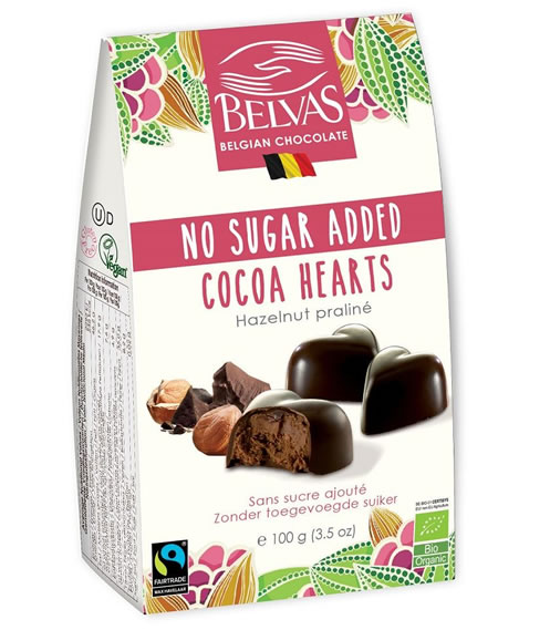 Belvas, Cocoa Hearts with Inulin, 100g