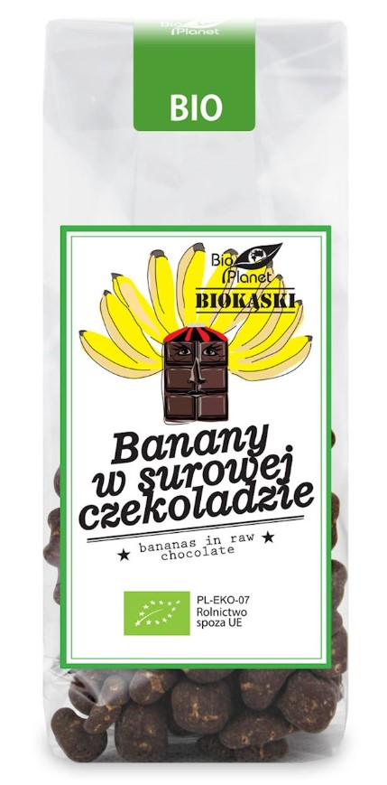 Bio Planet, Bananas in Raw Chocolate, 100g