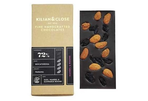 Kilian & Close, Sicilian Almond and Bukhara Raisin Chocolate 72%, 80g