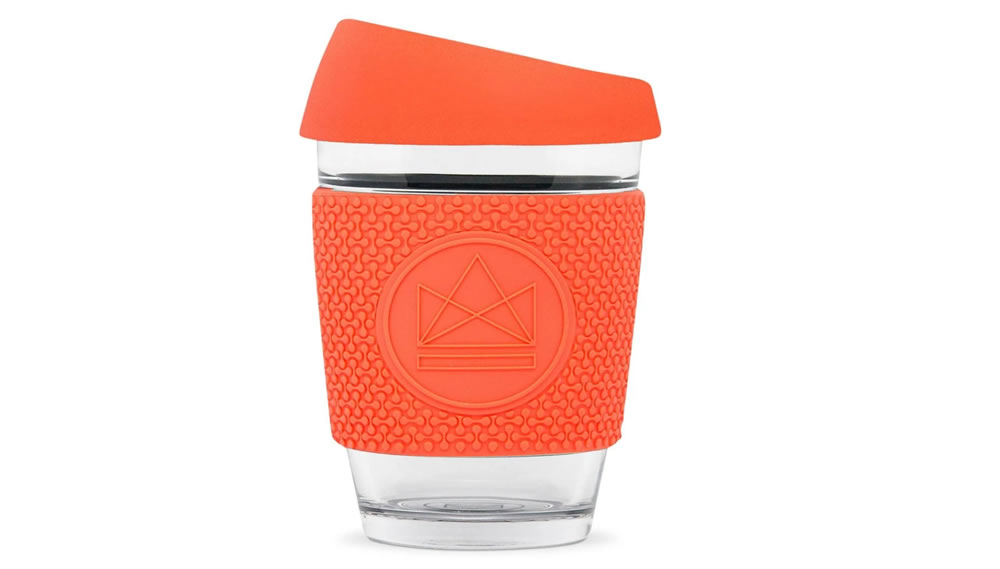 Neon Kactus, Reusable Glass Coffee Cup, Coral