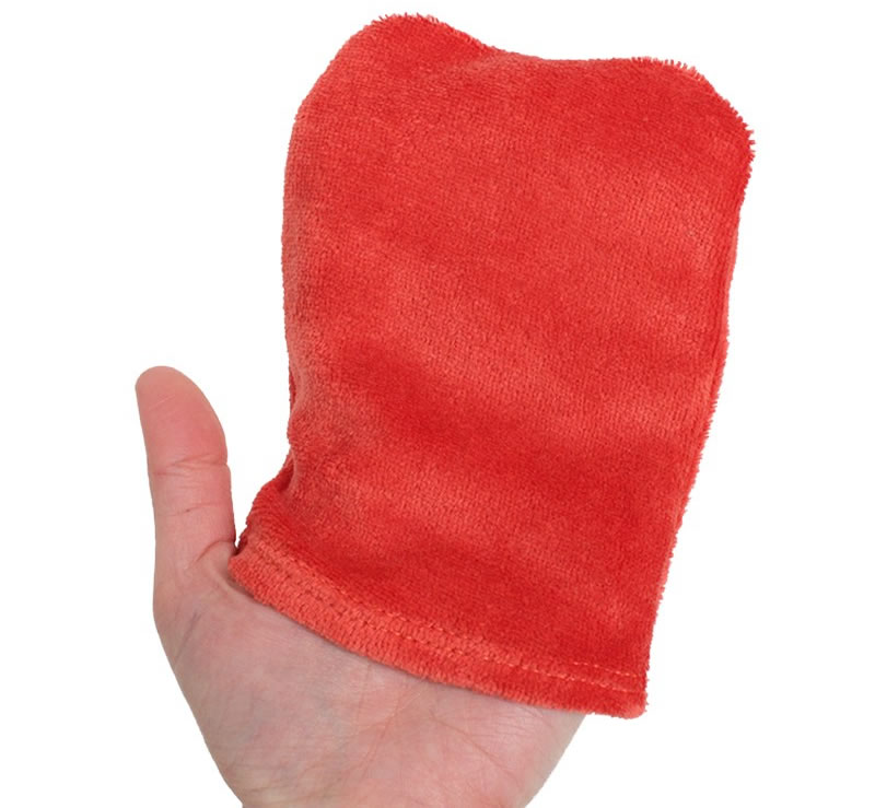 Shower Mitt or Baby Changing Glove, color: Imbrex Red