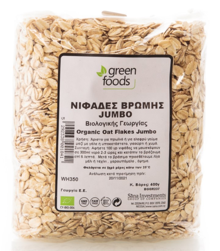 Green Foods, Oat Flakes Jumbo, 400g